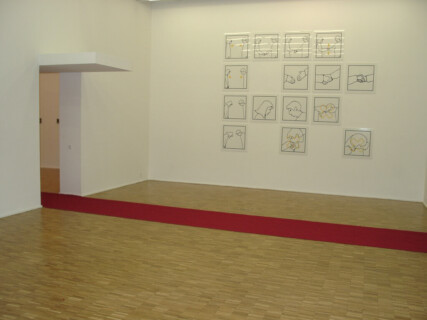 Ausstellungsansicht, Jun Yang: COMING HOME. Daily Structures of Life. Version D 00, 2001, GfZK Leipzig, Foto: Hans-Christian Schink