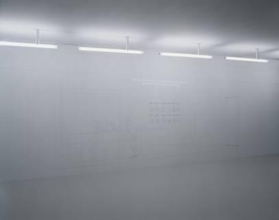 Ausstellungsansicht, Büro für kognitiven Urbanismus: LAST MINUTE. Zur Warenförmigkeit von Grenzen, 2006, GfZK Leipzig, Foto: Andreas Enrico Grunert