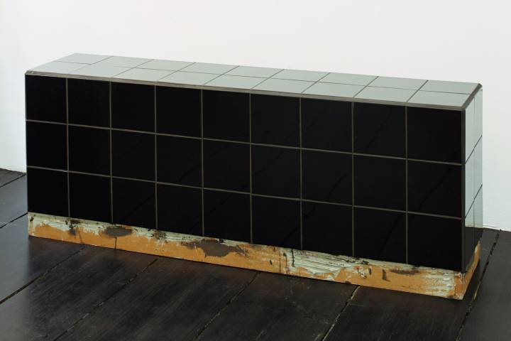 Calla Henkel & Max Pitegoff: Institutional Bench, 4.4 sqft, Museum Morsbroich prototype, black, black 2014. Courtesy of the artists and Galerie Isabella Bortolozzi