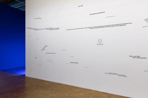 Dominique Gonzalez-Foerster Textorama, 2009, exhibition view: Dominique Gonzalez Foerster. 1887–2058, Centre Pompidou, Paris, 2015 Photo © Andrea Rossetti