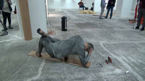 "Credits: Video-still of Live Performance ""Conjugative Literacy"" by John Seung-Hwan Lee, at Intertwined exhibition, Brooklyn 2018, recorded by Siri Lindskrog."