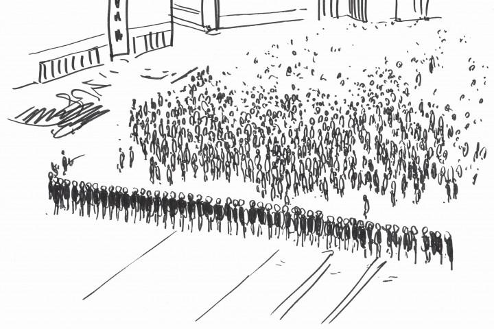 """Clemens von Wedemeyer, Storyboard zu """"70.001"""", Zeichnung: Agnes Lammert"""