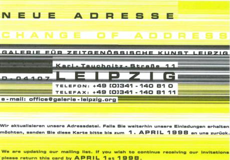 Neue Adresse 1998. Karte aus dem Archiv Klaus Werner.