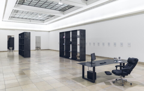 Installation view, Sung Tieu, Zugzwang, Haus der Kunst, Munich, 31 January - 30 August 2020 © Sung Tieu, Courtesy of the artist and Emalin, London, Photo Max Geuter